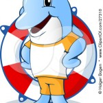 Friendly-Blue-Dolphin-Life-Guard-Standing-In-Front-Of-A-Life-Saver-Ring
